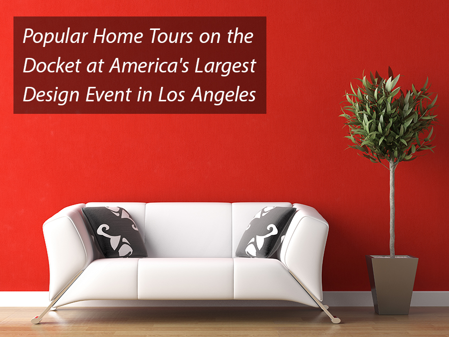 Event In Los Angeles Interior Design Of White Couch On Red Wall
